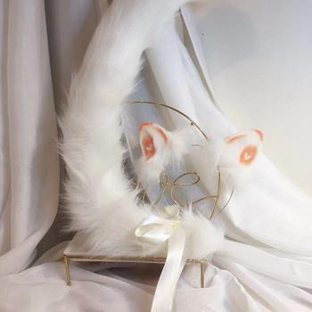 New white cat Anime simulation beast ear beast tail wolf ear cat ear fox ear hair hoop custom COSPLA цена 2017