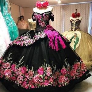 Nouveauté noir Quinceanera robes Applique jupe bouffante douce 16 robe longue vestidos de 15 robe de bal robes de bal
