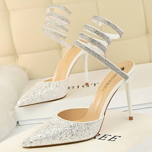 Summer Luxury High Heels Bling Sequin Sandals  1