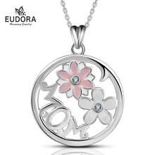 Eudora Новый розовый цветок вишни круглый кулон кристалл cz