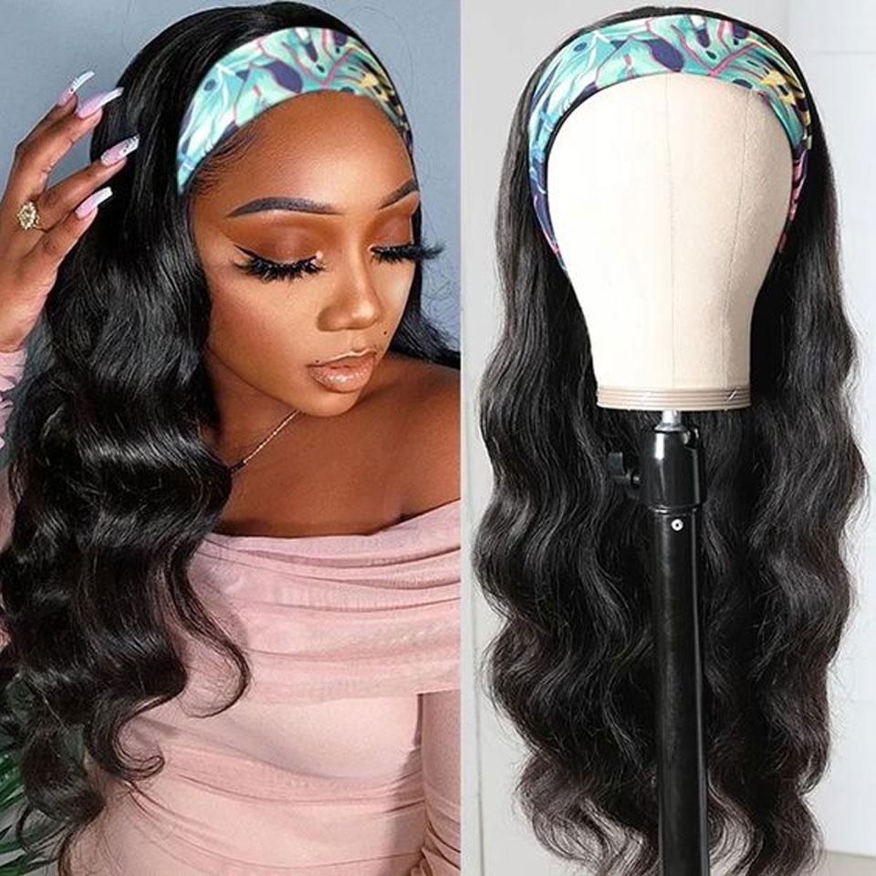 Черный жемчужный объемный волнистый парик с головной повязкой, человеческие волосы, легкий полупарик, бразильские волосы Remy, парик с головн...