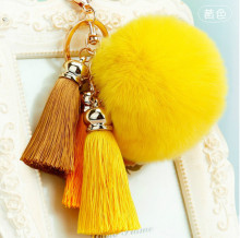 лучшая цена Manufacturers selling rabbit fur ball key chain tassel pendant female bag following from car