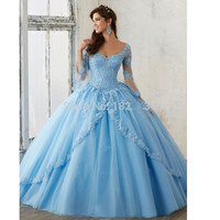 Sky Blue 2019 Quinceanera Dresses Ball Gown V neck 3/4 Sleeves Tulle Appliques Beaded Cheap Sweet 16 Dresses