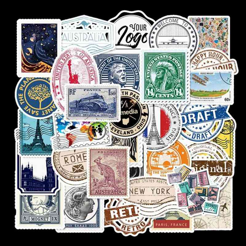 50pcs Popular Retro Travel Stamps Graffiti Stickers Luggage Trolley Case Scooter Notebook Super Waterproof Stickers Stickers