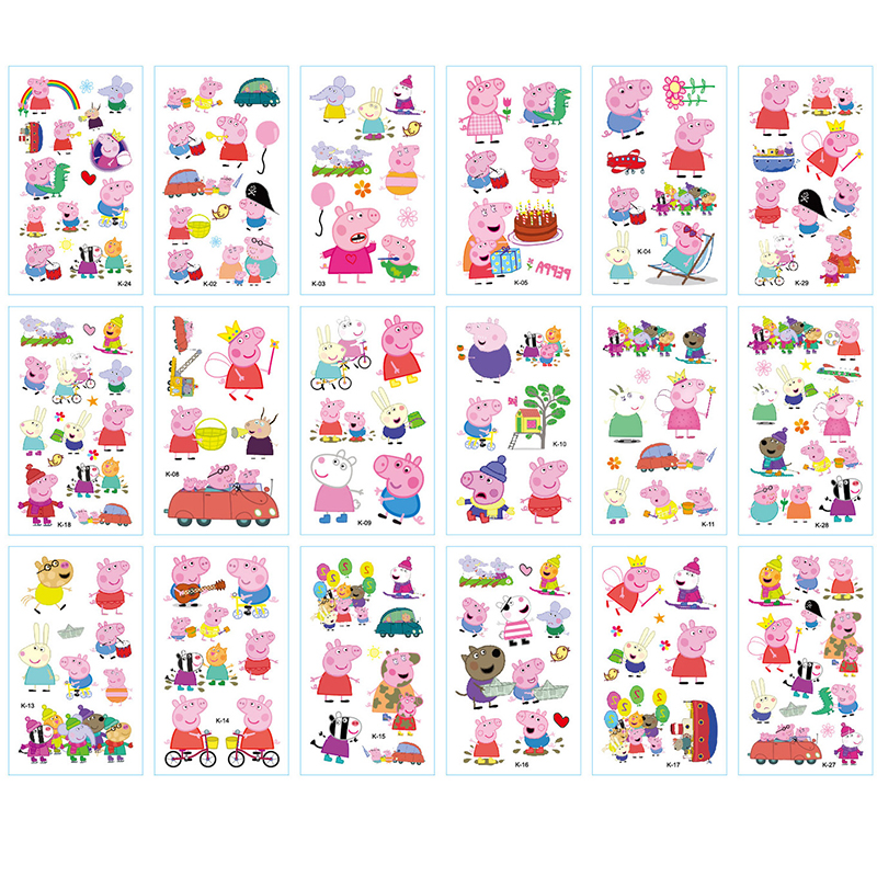 30pcs Peppa Pig Tattoos Sticker Adhesive Stickers Anime Figure One Piece Figure DIY Decoration Diary Stickers Toys For Children