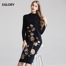 Alta calidad 2019 Otoño Invierno lana vestido de punto Mujer exquisito bordado Floral manga larga grueso caliente suéter vestido femenino