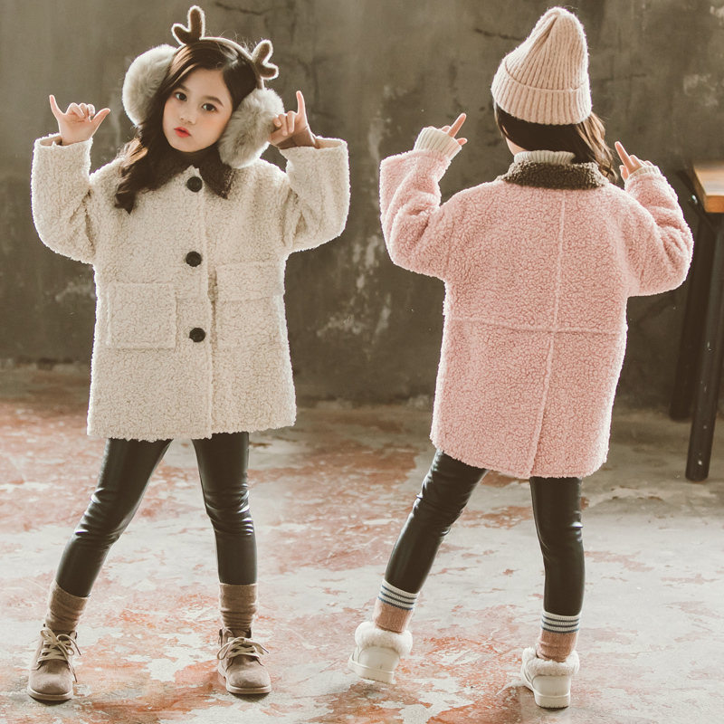 Fashion 2019 Winter Autumn Faux Fur Wool Coats For Girls Jackets Warm Thicken Elegant Teenage Outerwear Baby Girls Clothes 4-13T