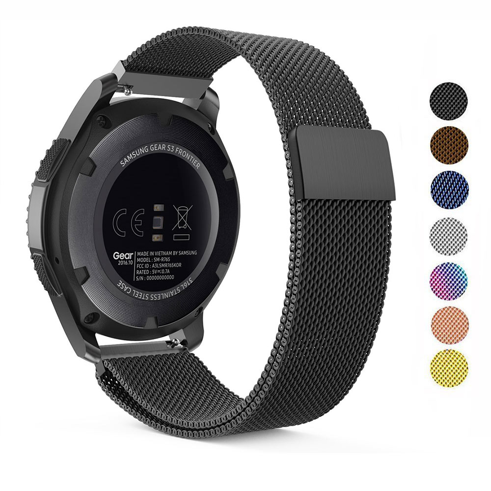 22mm 20mm Milanese Loop Band For Samsung Galaxy Gear S3 Frontier Band Galaxy 46mm Watch Active Stainless Steel 16 24mm 18mm Band