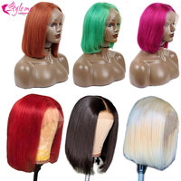 Short Bob Blonde Lace Frontal Wigs Red Brown Human Hair Wig Pink Green Brazilian Straight 13*4 Lace Front Wigs Baby Hair Nonremy