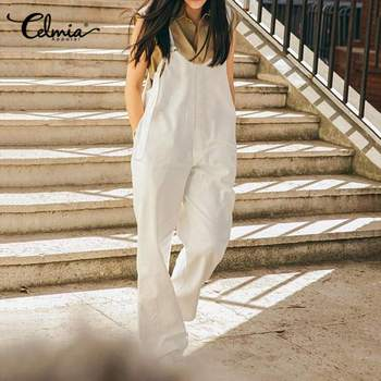 Celmia Solid Office Vintage Rompers Women Straps Sleeveless Long Jumpsuits Celmia Casual Playsuits Solid Buttons Work Overalls фото