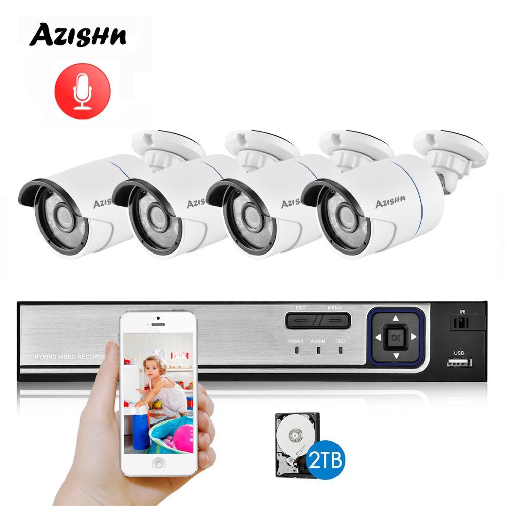 AZISHN H.265+ CCTV System POE NVR Kit 4CH 5MP 1/2.8