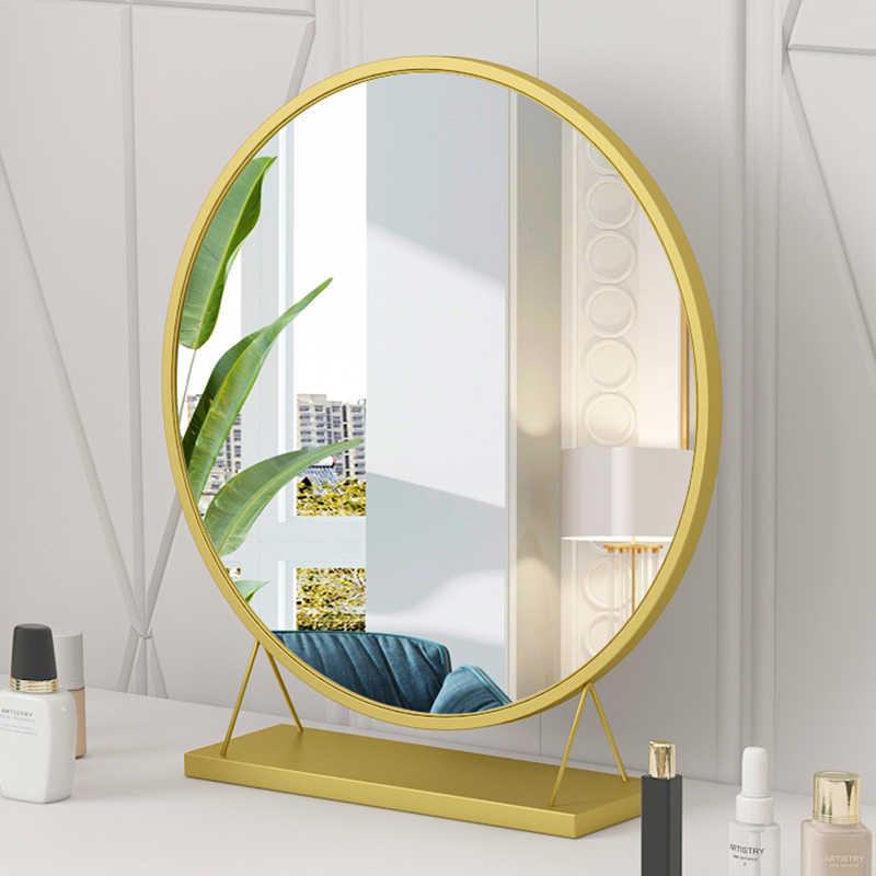 Makeup Mirror Desktop Cosmetic Mirror Nordic Style Large Vanity Mirrors Tabletop Stand Bathroom Espejos Decorativos Wj123010 Aliexpress
