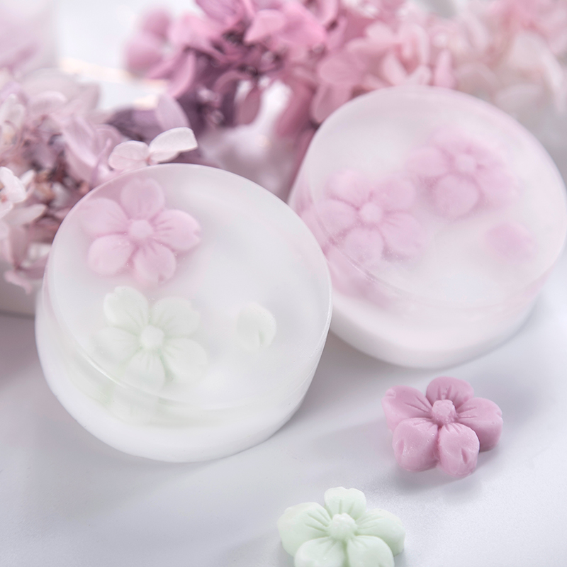 SJ 3D Cherry Soap Mold Silicone Soap Making Molds Cute Flower Round Resin Mould For DIY Home Handmade Craft