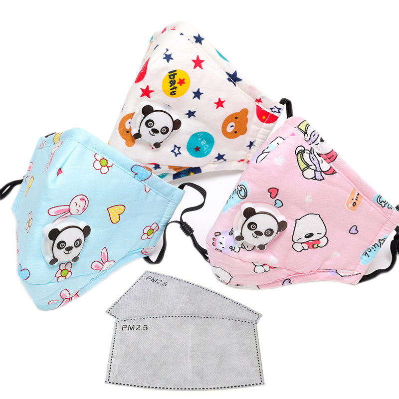 3pcs PM2.5 Mouth Mask Kids Cartoon Panda Breath Valve Respirator Mask Air Pollution Anti Dust Face Masks 2-10 Years Old Children