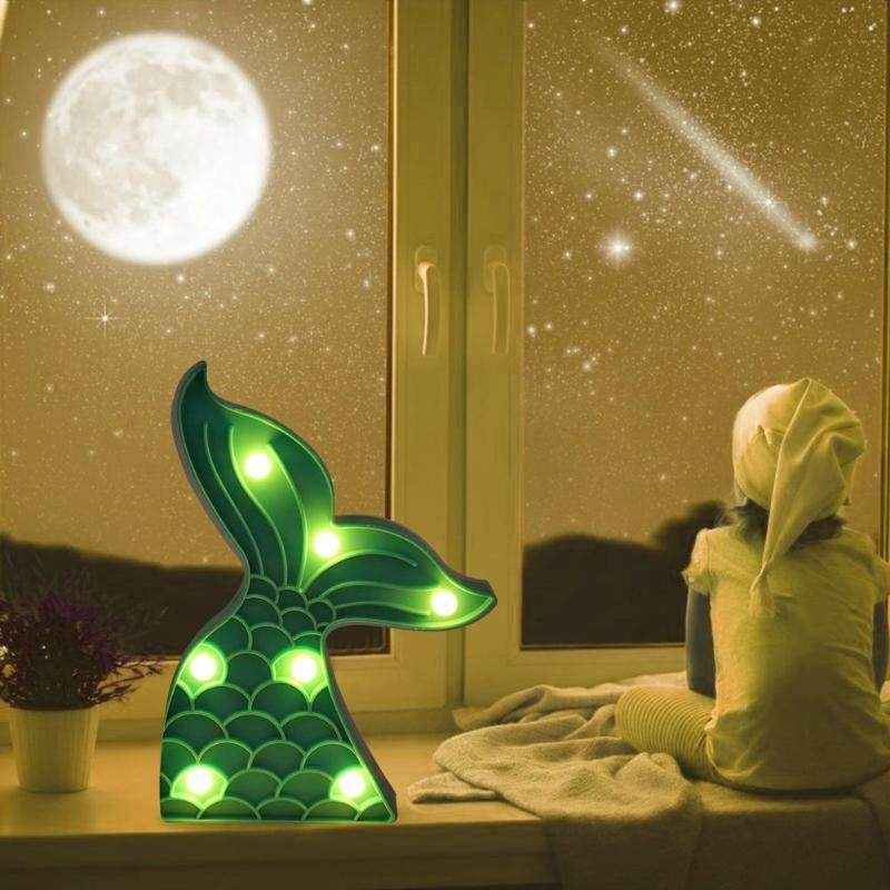 LED Plastic Night Light Indoor Wall Lamp Party Home Bedroom Cute Kids Decoration Blue Mermaid Tail Cartoon Warm White Light