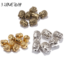 20Pcs10x8mm New Tibetan Silver Gold Metal Beads Buddha's Head Loose Speace Beads For Jewelery Making Charms Necklace Bracelet