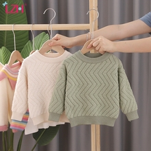 Sweater Pullover Embroidery Grain-Fleece Baby-Boys-Girls Solid-Color Childrens New Autumn