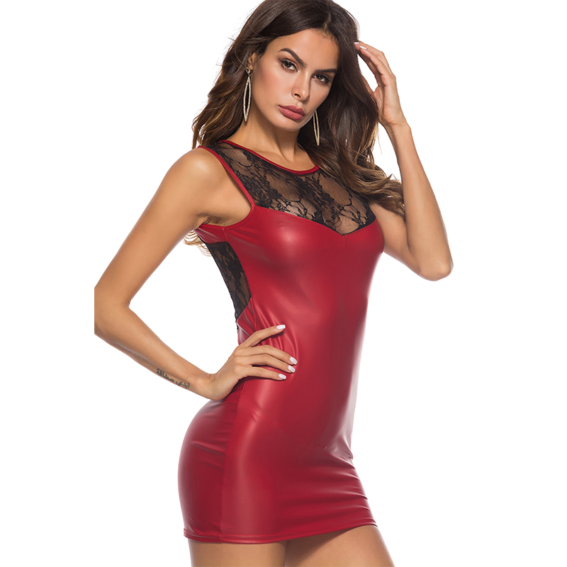 Club Wear Party Clothing Women Sexy Bodycon Dress PU Leather Sleeveless Dress Backless Lace See through Slim Mini Dresses Dresses    - AliExpress