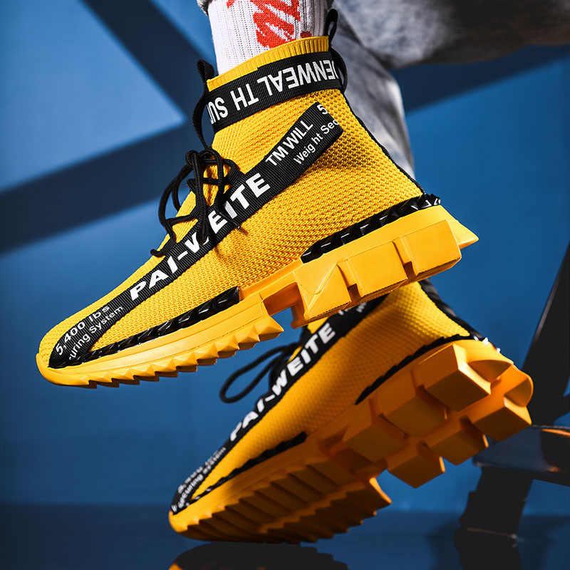 Di modo di Alta Top Calzino Traspirante casual Scarpe Da Uomo 2020 Nuovo Uomo Sneakers in Bianco e Nero Morbido Leggero Grande Formato Zapatos hombre