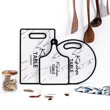 Кухонные разделочные инструменты блоки мраморная текстура полипропилен дерево двухсторонняя разделочная доска Нескользящие кухонные аксессуары разделочная доска 1 шт