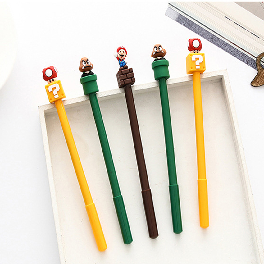 40pcs/lot Cartoon Super Mario Gel Pen Gel Pens For Writing 0.5mm Black Ink Signature Pens School Office Stationery Gifts