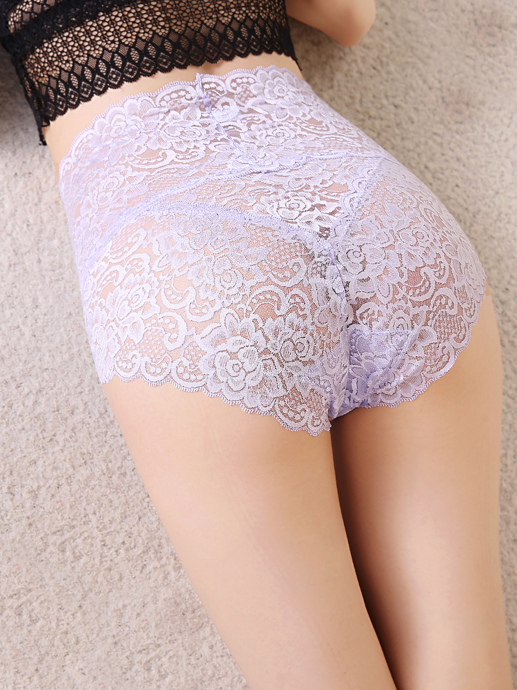Women's Panties with High Waist Sexy Lace Traceless Transparent Control Abdomen Plus Size Underwear Women Panties Large Size