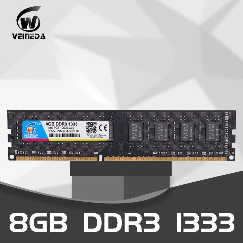 VEINEDA Ram Dimm DDR3 8GB 1333 PC3-10600 240 pines, 1,5 V Compatible con 8gb de memoria ddr3 1600 PC3-12800 para AMD Intel DeskPC Kembona original chips marca PC de escritorio DDR2 1 GB/2 GB/4 GB 800 MHz/667 MHz/533 MHz DDR 2 DIMM-240-Pins escritorio memoria Ram