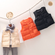 Solid Color Down Children's Vest Autumn Single-breasted Vest for Girls Casual Vest for Boy Fashion Baby Girl Clothes Kids Vest цена и фото
