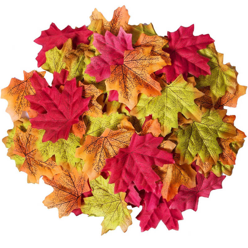50 Pcs Home Decora Artificial Maple Leaves Assorted Mixed Fall Colored Artificial Maple Leaves for Weddings and Decorating