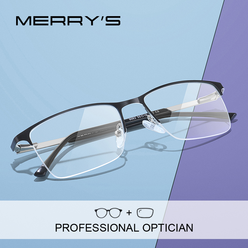 Мужские квадратные очки для коррекции зрения MERRYS, дизайнерские Полуободковые оптические очки для мужчин по рецепту при близорукости, в дел...