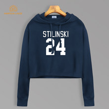 Teen Wolf Stilinski 24 Short Style Sweatshirt Autumn 2019 TV Show Women Kawaii Cotton Cropped Hoodie Sexy Pullovers For Fans(China)