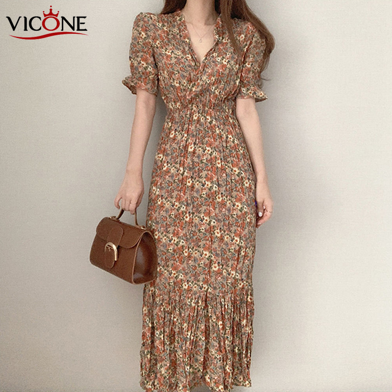 VICONEL Women's Chic Non-Mainstream Vintage V-neck Cross Slimming Waist Hugging Pleated Floral Puff Sleeve Chiffon Dress