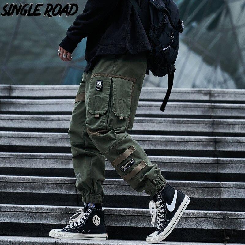 Single Road Mens Cargo Pants Men Fashion 2021 Side Pockets Hip Hop Techwear Joggers Male Japanese Streetwear Trousers Pants Men