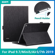 """ESR PU Leather Case for IPad 9.7 2017 2018 mini 5 7th Gen 2019 10.2"""" Air 3 Smart Protective Pencil Holder Cover for ipad 10.2"""