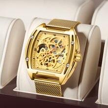 Swish 2020 relógio mecânico masculino ouro relógio automático com pulseira de malha luxo esportes à prova dwaterproof água esqueleto tourbillon relógio de pulso