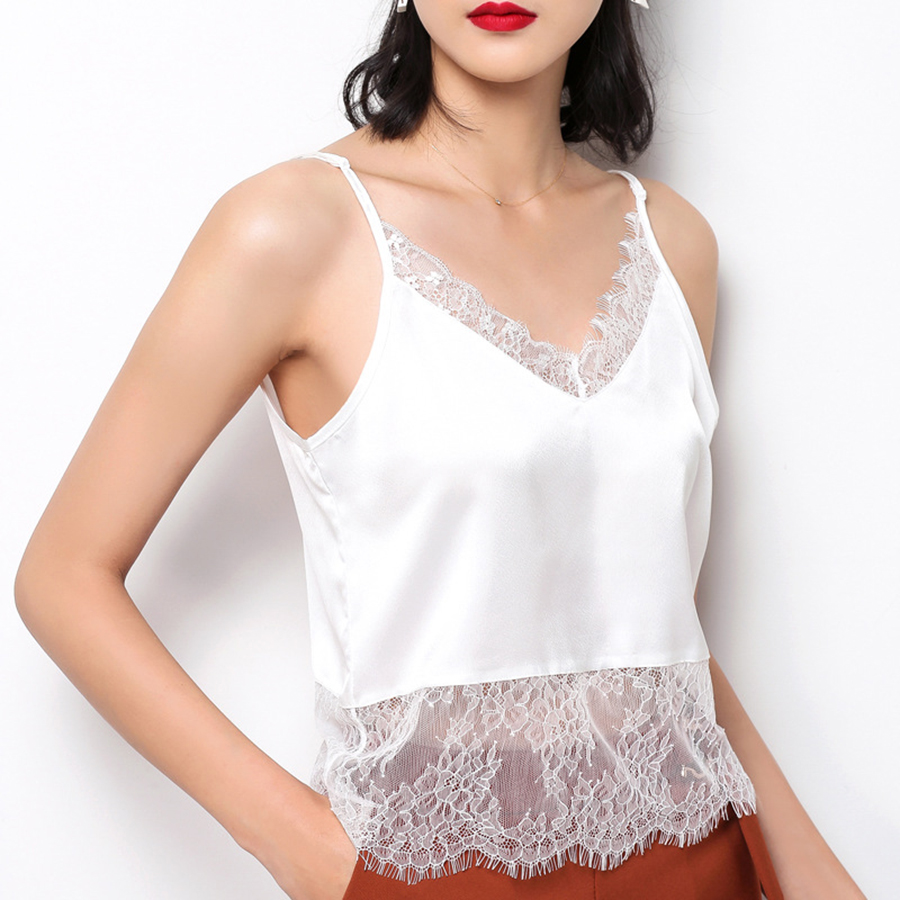 tops mujer verano 2019 Summer sexy V-neck lace sexy top women stitching silk camisole bottoming shirt woman clothes image