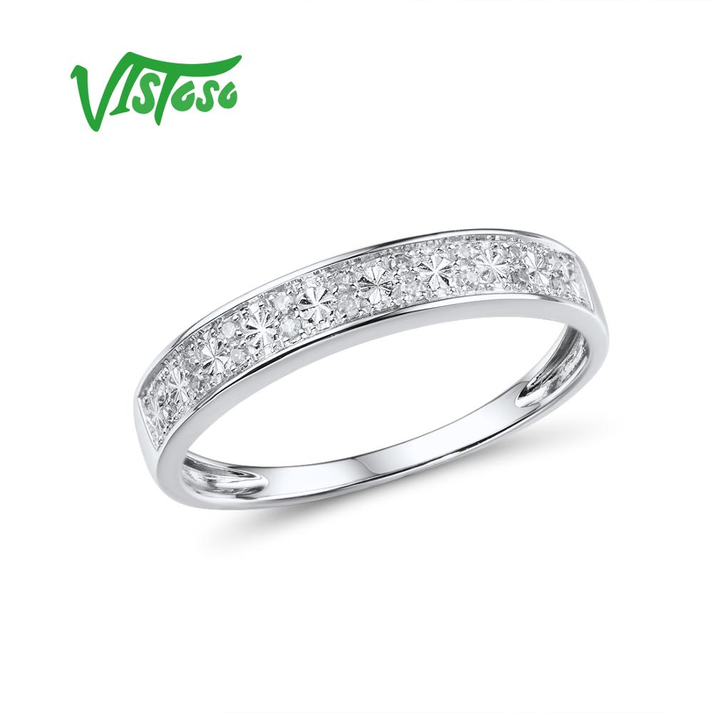 VISTOSO Gold Rings For Women Genuine 9K 375 White Gold Ring Sparkling Diamond Promise Band Rings Anniversary Fine Jewelry