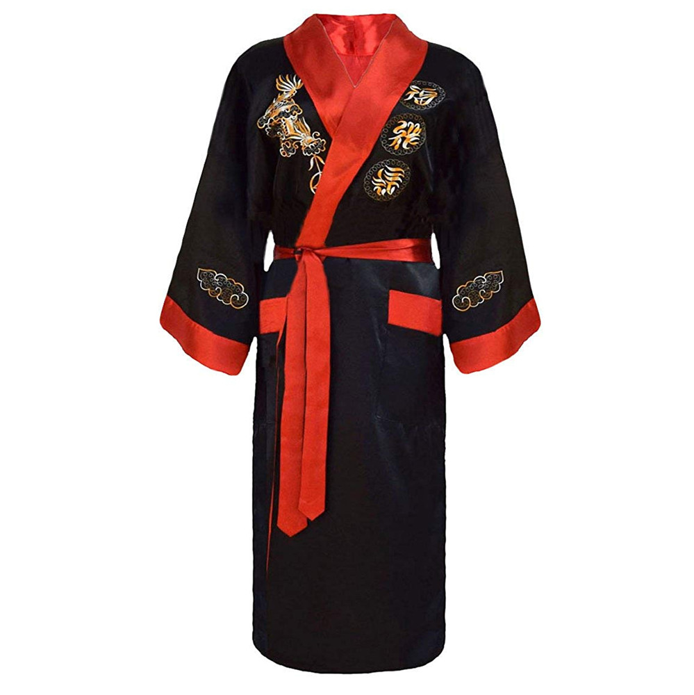 Two Side Sleepwear Home Clothing Embroidery Dragon Rayon Kimono Bathrobe Gown Robe Nightgown Men Novelty Intimate Lingerie