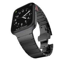 Pasek ze stali nierdzewnej do zegarka Apple 44mm 40mm motyl klamra metalowa bransoletka do paska iwatch 5 4 3 2 1 42mm 38mm