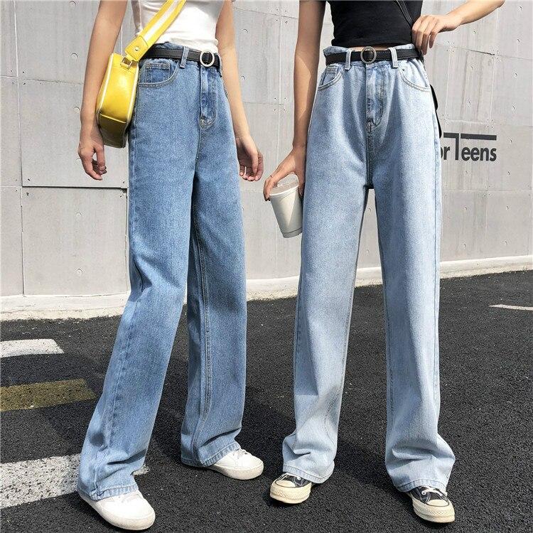 New Vintage High Waist Jeans Woman 2019 Wide Leg Pants Blue Mom Boyfriend Jeans For Women Denim Pants Female Trousers Streetwear