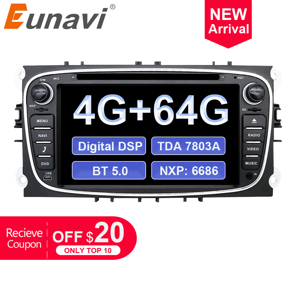 Top Eunavi 2 din Android 9.0 Car DVD Radio Multimedia GPS for FORD Focus Mondeo S-MAX C-MAX Galaxy 4G 64G IPS DSP TDA7803A head unit 0