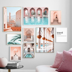 Morocco Door Mosque Corridor Travel Quote Nordic Posters And Prints Wall Art Canvas Painting Wall Pictures For Living Room Decor