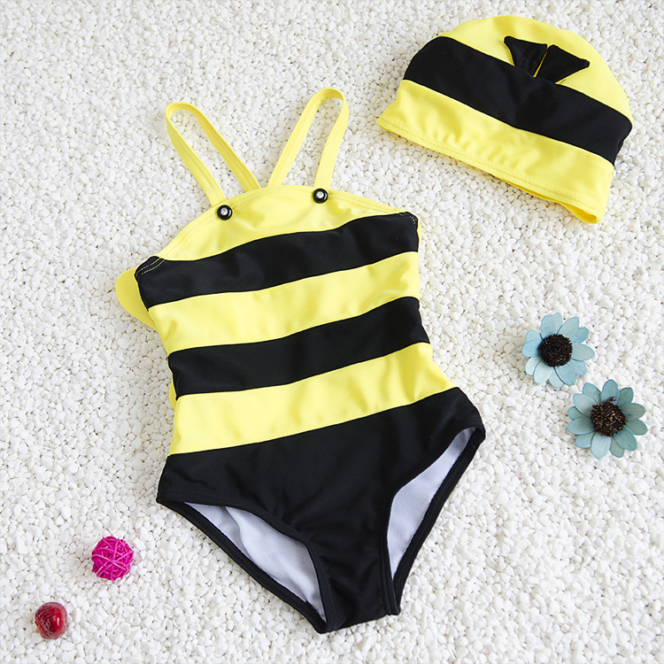 Bees Modeling CHILDREN'S Swimwear Women's Infants KID'S Swimwear Girls Swimsuit For Boys Hooded Baby Bathing Suit Girls