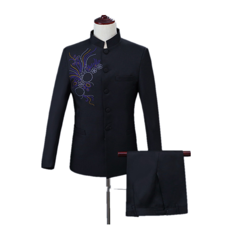Wedding Party Casual 2 Piece Set Men's Inlay Diamond Solid Color Chinese Tunic Suit Slim Stand-up Collar Suit Set (coat+Pant)