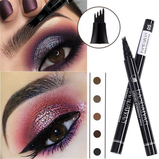 5 Colors Microblading Eyebrow Pencil Waterproof Fork Tip Tattoo Pen Tinted Fine Sketch Long Lasting Eye Brow Pencils