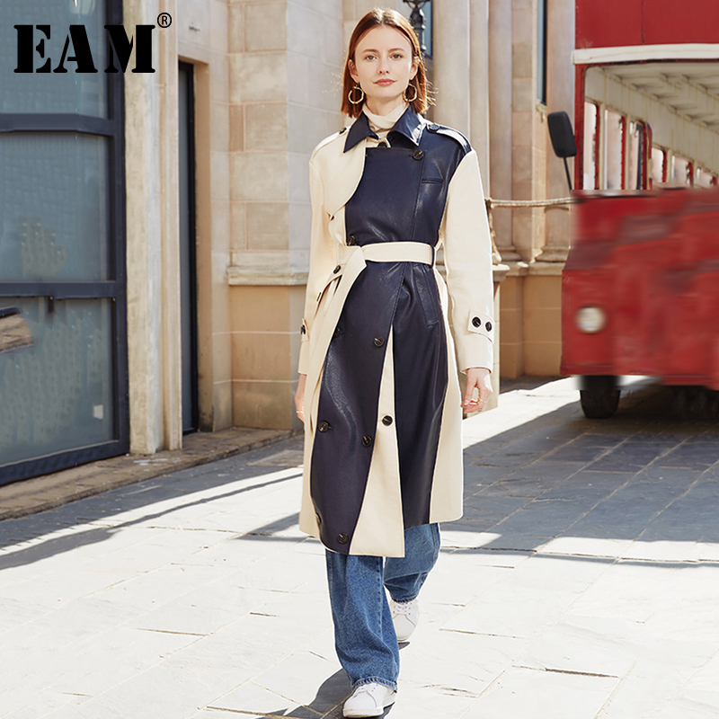 [EAM] Women Apricot Pu Leather Split Long Trench New Lapel Long Sleeve Loose Fit Windbreaker Fashion Tide Spring 2020 1N360