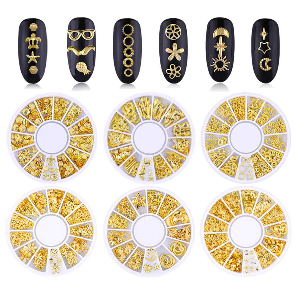 ثلاثية الأبعاد معدنية برشام معدني القلب القمر نجمة مسمار نصائح زينة أدوات مانيكير