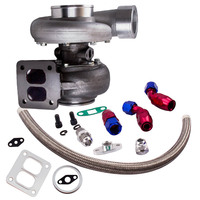 GT45 T4 V BAND Turbo Compressore 1.05 A/R 92MM 600+HPS Boost Turbo Charger w/ Oil Return Line kits External Wastegate