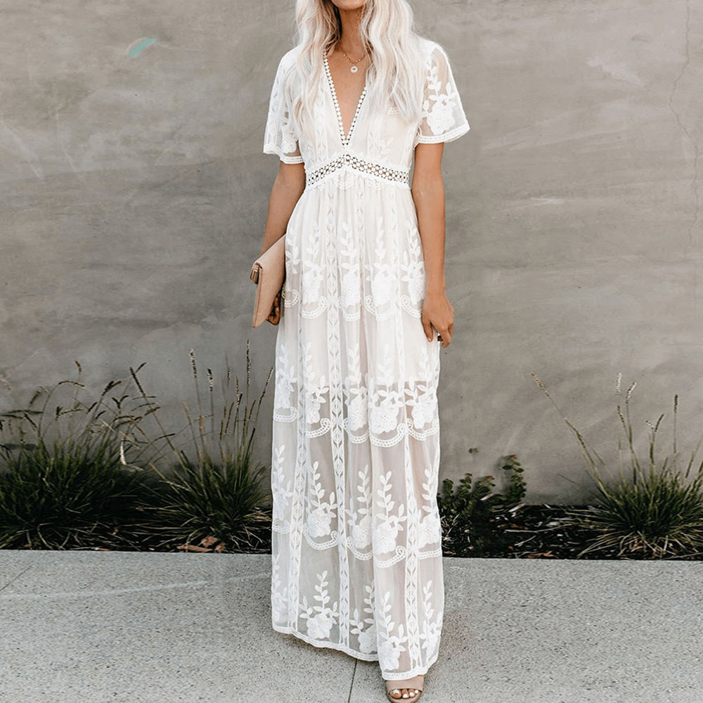 <font><b>Sexy</b></font> White Long Lace <font><b>Dress</b></font> Women See Through <font><b>Elegant</b></font> Party Maxi <font><b>Dresses</b></font> Plus Size <font><b>Boho</b></font> Fashion <font><b>Beach</b></font> Vestido Trips Summer 2020 image