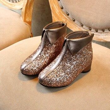 Inverno Novas Crianças Botas Princesa Do Bebê Meninas Brilhar Ankle Boots Crianças Sequin Botas Quentes Sapatos De Dança Saltos Marca De Moda Suave